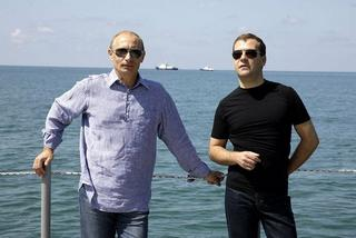 Il premier russo, Vladimir Putin, e il Presidente russo, Dmitrij Medvedev
