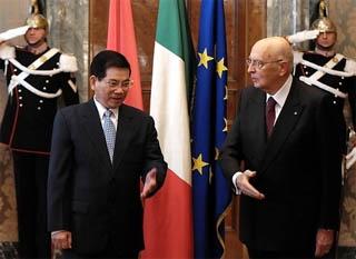 Giorgio Napolitano riceve il Presidente del Vietnam, Nguyen Minh Triet