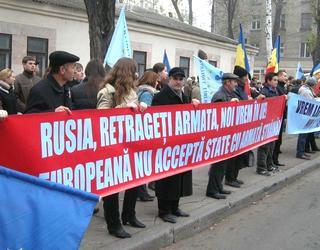 Chisinau, manifestazione contro la presenza di truppe russe in Transnistria