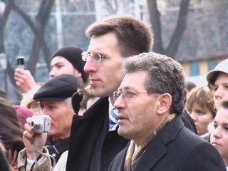 Il presidente ad interim, Mihai Ghimpu (in primo piano)