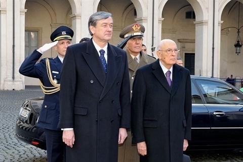 Il capo di Stato sloveno, Danilo Turk, e il presidente della Repubblica italiana, Giorgio Napolitano