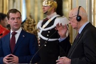 Il presidente Giorgio Napolitano riceve Medvedev al Quirinale