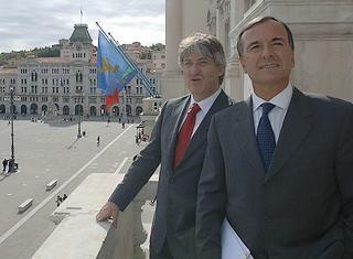 Il governatore del Friuli Venezia Giulia, Renzo Tondo, e il ministro degli Esteri italiano, Franco Frattini