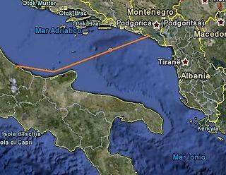 Il tracciato del cavo d'interconnessione elettrica tra Italia e Montenegro