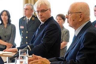 Il presidente croato, ivo Josipovic, e quello italiano, Giorgio Napolitano