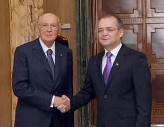 Napolitano ed il premier romeno Emil Boc