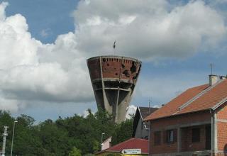 La torre di Vukovar colpita durante l'operazione Tempesta