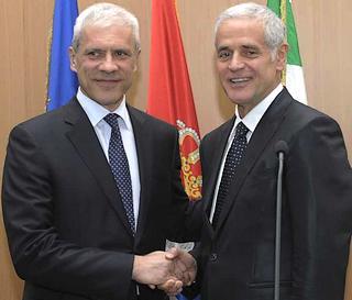 Il presidente serbo, Boris Tadic, e il presidente della regione Lombardia, Roberto Formigoni