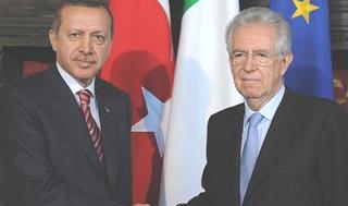 Il premier turco Erdogan e il primo ministro italiano Monti