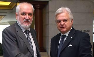 Il direttore dell'Istituto Pupin, Milenko NiklolicIl, con il presidente di Confindustria Anie, Claudio Andrea Gemme