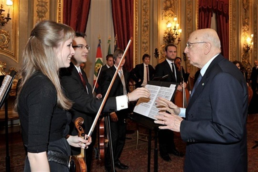 Il presidente Giorgio Napolitano alla cerimonia nella sede del Quirinale