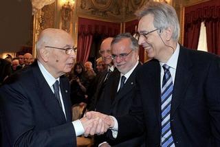 Il presidente Giorgio Napolitano con il professore Raoul Pupo