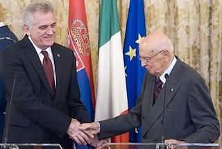 Giorgio Napolitano e Tomislav Nikolic al Quirinale