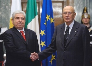 Dimitris Christofias con Giorgio Napolitano