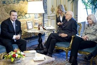 Il Presidente Giorgio Napolitano, con il Sottosegretario di Stato agli Affari Esteri, Marta Dassù, nel corso dei colloqui con il Primo Ministro e Ministro dell'Interno della Repubblica di Serbia Ivica Dačić