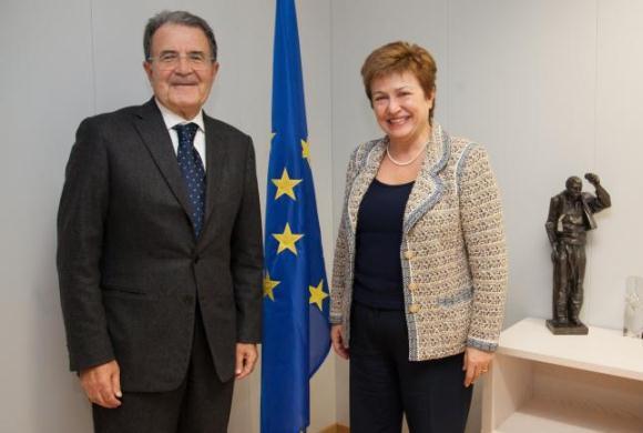L'inviato dell'Onu per il Sahel, Romano Prodi, con il commissario europeo alla Cooperazione internazionale, gli aiuti umanitari e la risposta alle crisi, Kristalina Georgieva