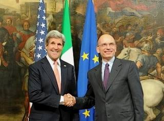Il segretario di Stato Usa, John Kerry, ricevuto a Palazzo chigi dal premier, Enrico Letta