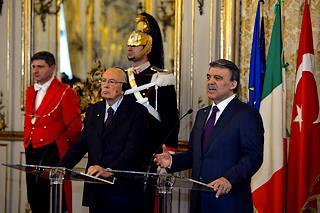 Il presidente della Repubblica Giorgio Napolitano e il presidente turco Abdullah Gul al Quirinale