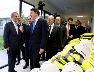 Il premier italiano Matteo Renzi in visita al cantiere Astaldi sul Bosforo