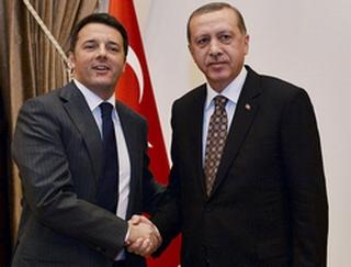 Il premier italiano Renzi con il presidente turco Erdogan