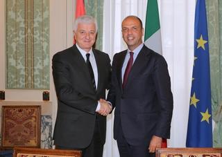 Il ministro montenegrino Markovic e il ministro dell'Interno italiano, Angelino Alfano