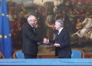 Il ministro dell'Economia del Montenegro, Branko Vujovic, e il ministro dello Sviluppo economico, Caudio Scajola